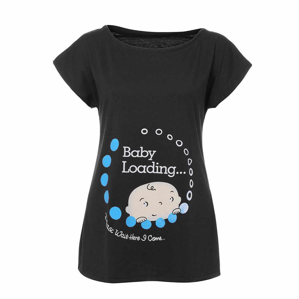 ฤดูร้อนผู้หญิงเสื้อยืด Maternity พยาบาล Tops Slim น่ารักพิมพ์ O - คอตลกแขนสั้นการตั้งครรภ์ T เสื้อสำหรับหญิงตั้งครรภ์
