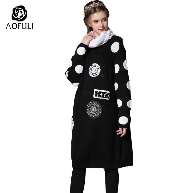 Patch Marque Polka Taille xxl Mode Vêtements Tricoté Q055 Pull Chandail S Grande Dot Printemps Femmes Long De Noir Dames 7AqSxawv