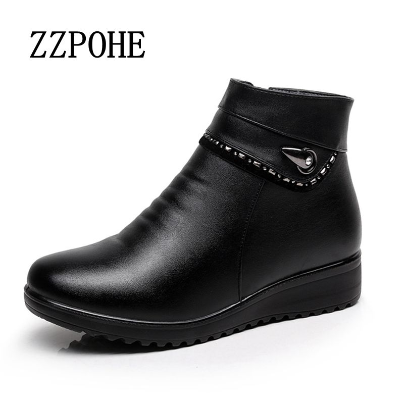 ZZPOHE 2017 winter new middle aged mom fashion shoes large size women flat boots plus velvet