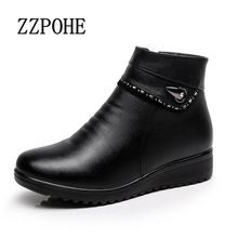 ZZPOHE 2017 hiver nouveau moyen-âge maman de mode chaussures grande taille femmes plat bottes plus de velours neige chaude bottes dames coton chaussures
