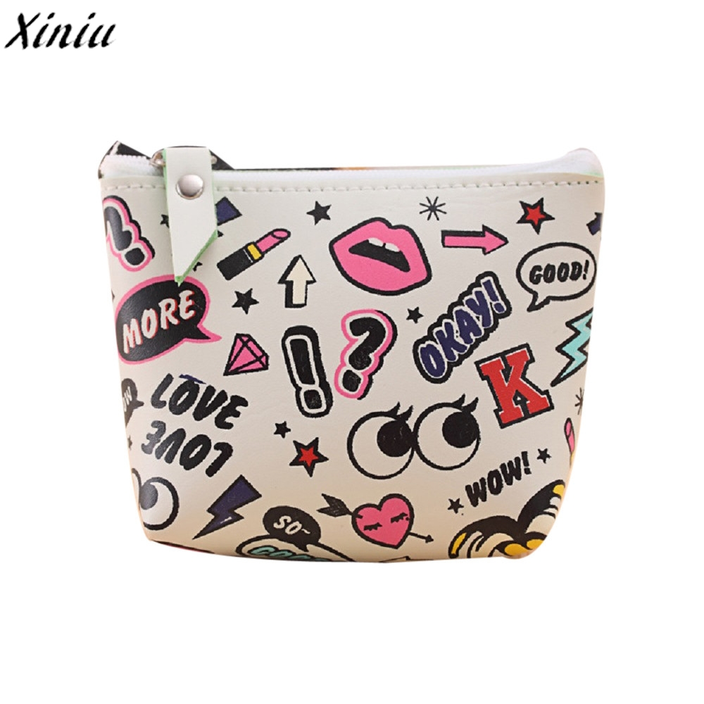 Coin Purse Girls Cute Emoji Printing Leather Fashion Mini Wallet Bag High Quality Change Pouch Monedero Mujer Para Monedas #7323