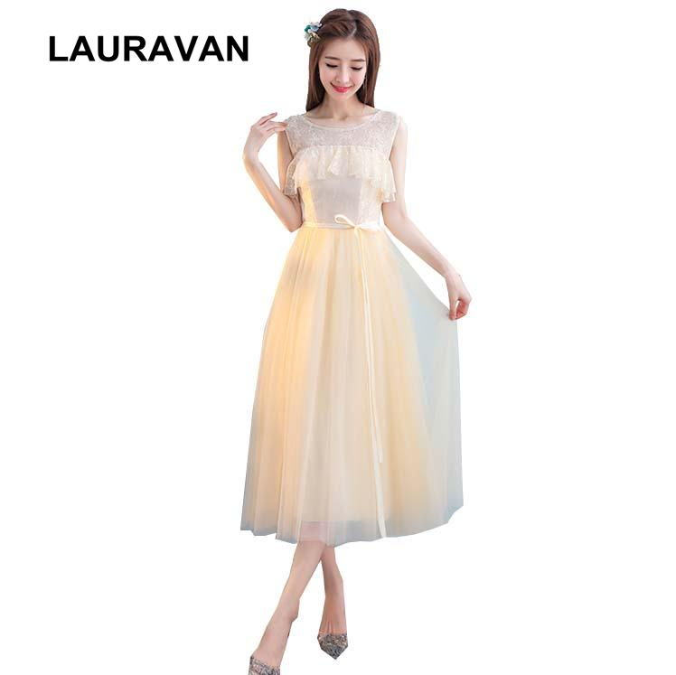 Robe De Soiree Champagne Brides Maides Puffy Lace Up Back Tulle Bridesmaid Cheap Formal Short Special Occasion Tea Dresses