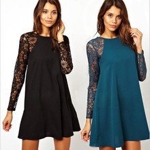 spring and summer new fashion women's sexy lace o-neck dress knee-length casual dressWL2190