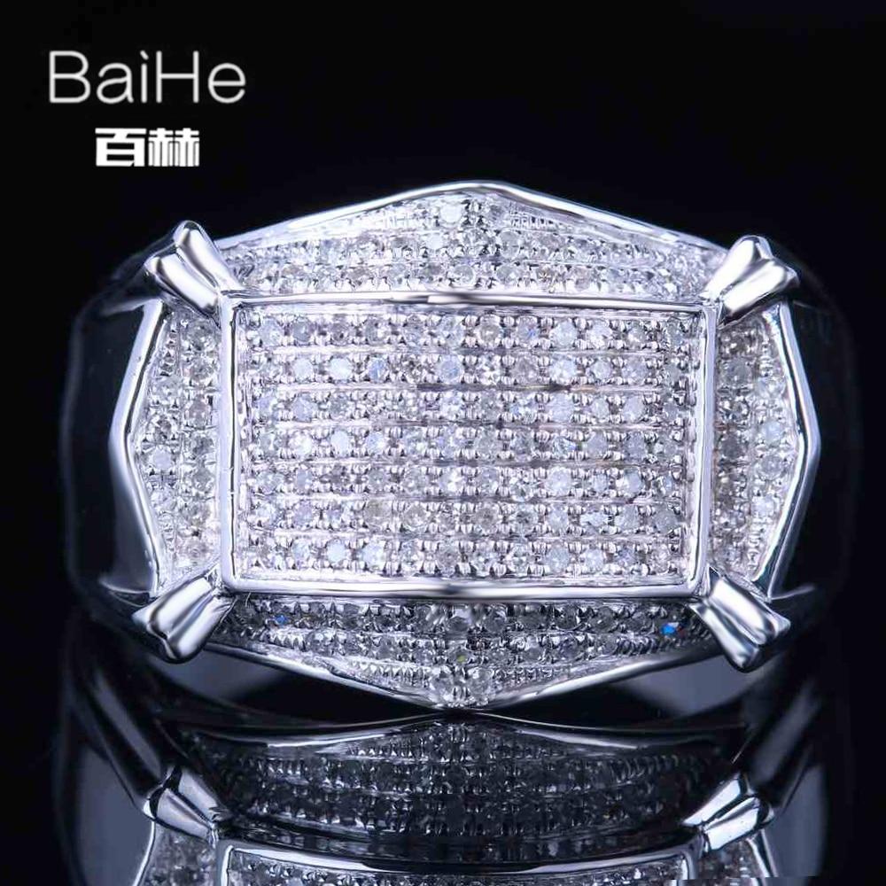 BAIHE стерлингового серебра 925 0.55CT признаны 100% из натуральной бриллиантами H/SI круглая огранка Обручение Для мужчин Мода Fine Jewelry кольцо