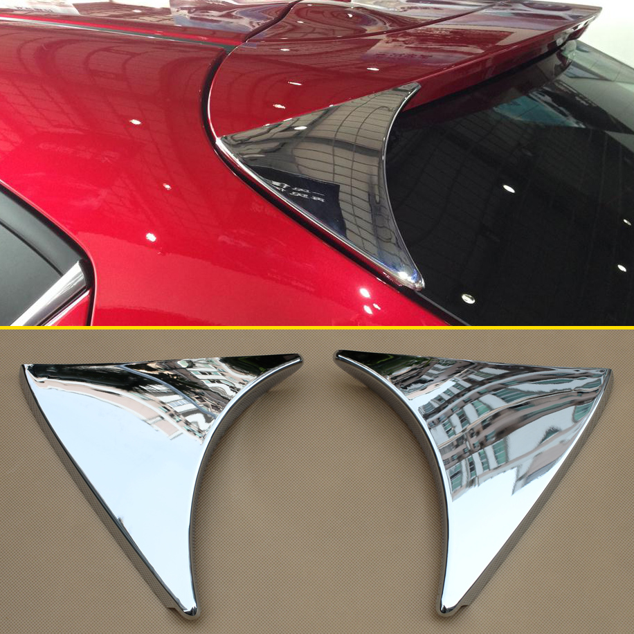 Rear Trunk Wing Triangle Spoiler Trims For 2014-<font><b>2018</b></font> <font><b>Mazda</b></font> <font><b>3</b></font> Hatchback BM BN High-gloss Chrome Trims Exterior <font><b>Accessories</b></font> image
