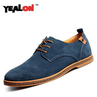YEALON Men Shoes Casual Genuine Leather Flats Shoes Men Summer Cool Winter Warm Fashion Lace Up