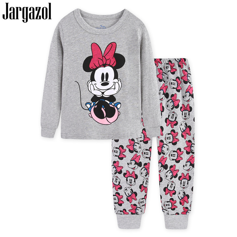 Jargazol Pyjamas Kids Stitch Autumn Long Sleeve Kids Pajamas Cartoon Mickey Minne Printing Kid Clothes Pajama Set Christmas all over cartoon print pajama set