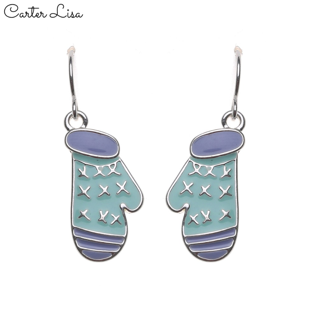 CARTER LISA 2019 New Hot Awareness Jewelry Earrings  Cancer Cute Blue Gloves Earrings Valentine's Day Gift HDEA-025