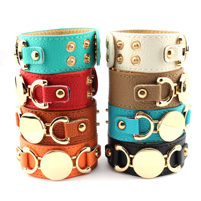 2016 New Style Monogram Leather Cuff Bracelets for Women Pulseras Blank Gold Plating Genuine Leather Bracelet Men Snap Jewelry