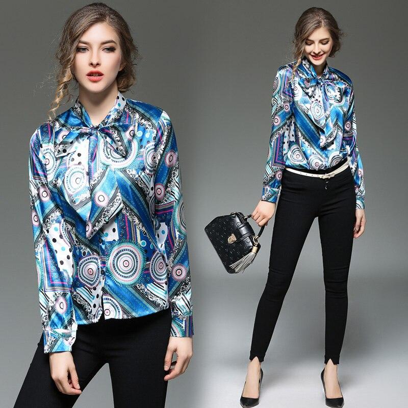 2017 de La Moda de Primavera de Alta Calidad De Seda Falsa Camisa Mujeres Tops p