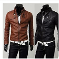 Free Shipping New Slim Men's Leather Jackets,Stand Collar Motorcycle Leather Clothing Design Leather Slim Clothing