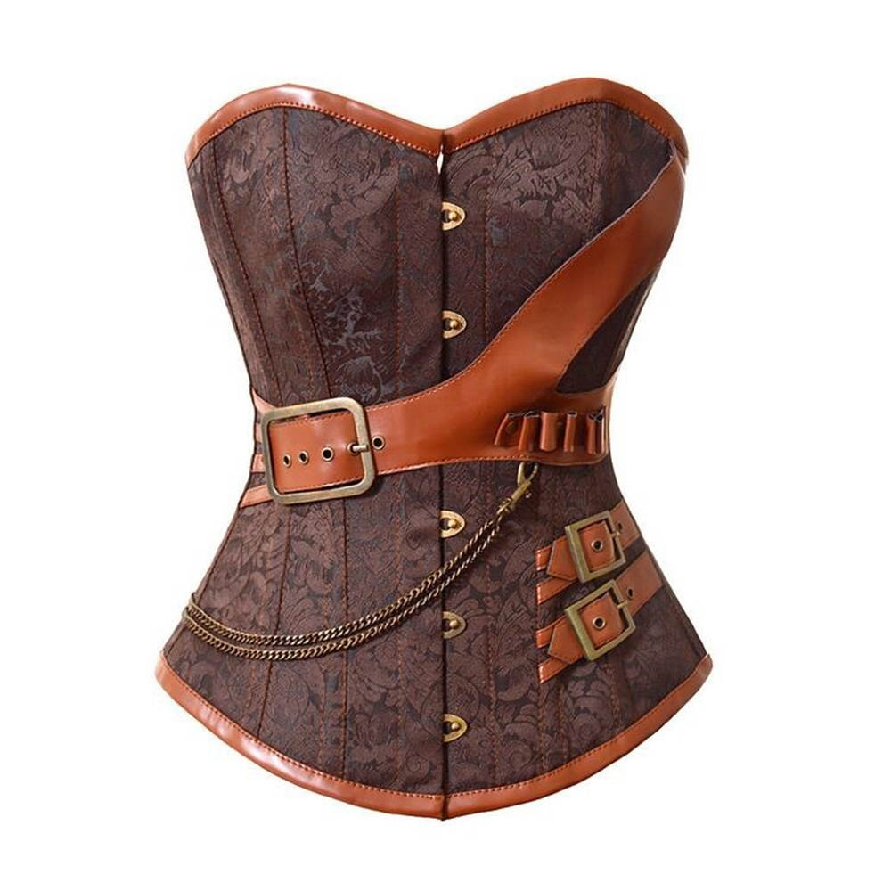 Women's Sexy Brown Jacquard Gothic Corset Steampunk Faux Leather Chains Bustier Waist Sliming Plus Size S-6XL costume