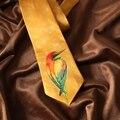 2017 de Alta Calidad de Martín Pescador Corbatas lazo de Los Hombres Casual Wedding Party Negocios Corbata Corbata Impresión del Pájaro Amarillo Regalo de Cumpleaños ZH050