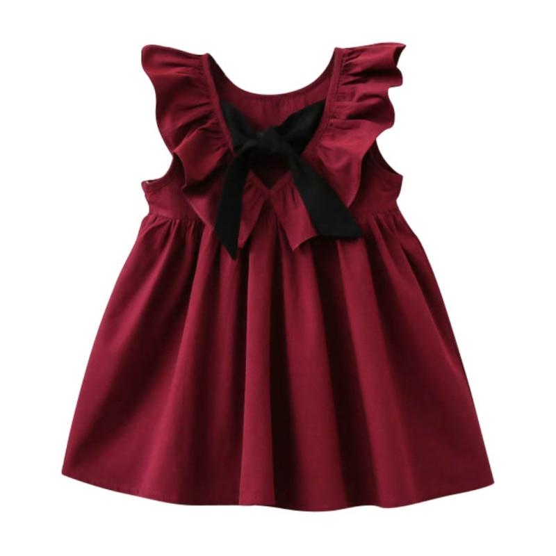 Children Kids Baby Girls Summer Princess Style Bowknot Sleeveless Jumper Dresses Pleated Puff Sleeve Vestido