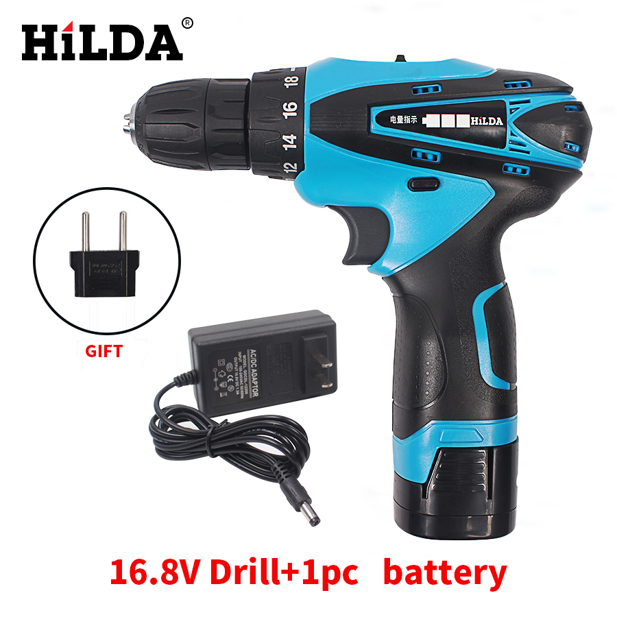 HILDA 16.8V Cordless Screwdriver Electric Drill Two-Speed Rechargeable Lithium Battery Waterproof Hand LED Light 25v cordless drill electric two speed rechargeable 2pcs lithium battery waterproof drill led light