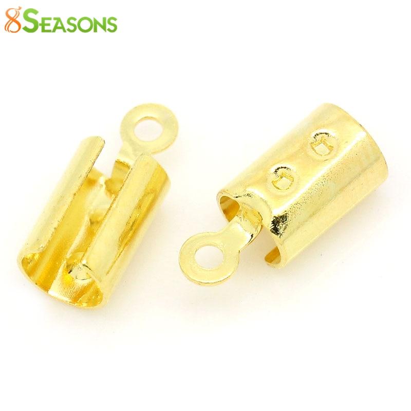 8SEASONS Copper Necklace/ Cord Crimp End Caps W/Loop gold-color (Fits 4mm Cord) 12mm x 5mm( 4/8x 2/8),100PCs (B28352)