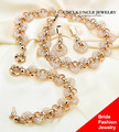 Bride Jewelry Set Gold Plated Austrian Zirconia Crystal Inside Nets Design Wedding Necklace / Bracelet / Earring Wholesale