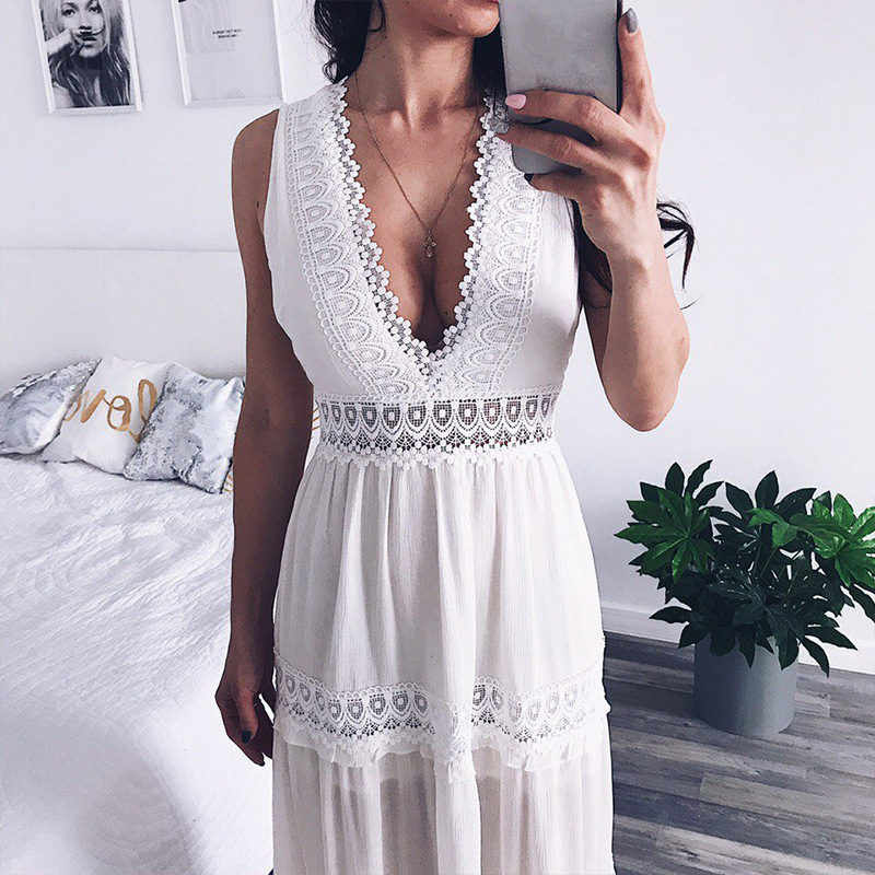 2756c80df2fa2 Deep V Elegant White Lace Sexy Dress Women Backless Hollow Out Summer Long  Maxi Dresses Female Clothing S M L XL