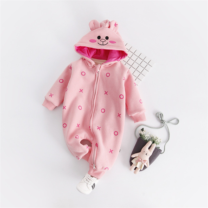 2017 Autumn Newborn Kids Long Sleeve Animal Rabbit Bear Romper Baby Boys Girls Infant Zipper Romper Jumpsuit Hooded Outfits puseky 2017 infant romper baby boys girls jumpsuit newborn bebe clothing hooded toddler baby clothes cute panda romper costumes
