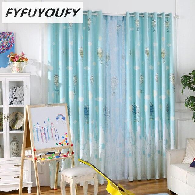 100% Polyester Baby Kinderzimmer Vorhänge Pastoralen Stlye Cartoon Vorhang  Für Kinder Zimmer Blackout Mit Heißluftballon