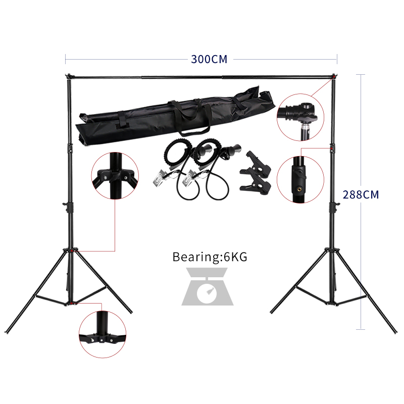 2.88MX3M Backdrops Frame Background Support System Photography Studio Background Holder Camera & Photo Accessories + Carry Bag easter day basket branch bunny photo studio background easter photography backdrops page 4