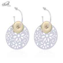 Badu Silver Glitter Sequins Earrings Hollowing Geometry Dangle Drop for Evening Party Jewelry Gift Girls Wholesale