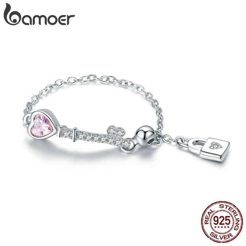 BAMOER Trendy New 925 Sterling Silver Love Heart Lock Key Chain Rings for Women Wedding