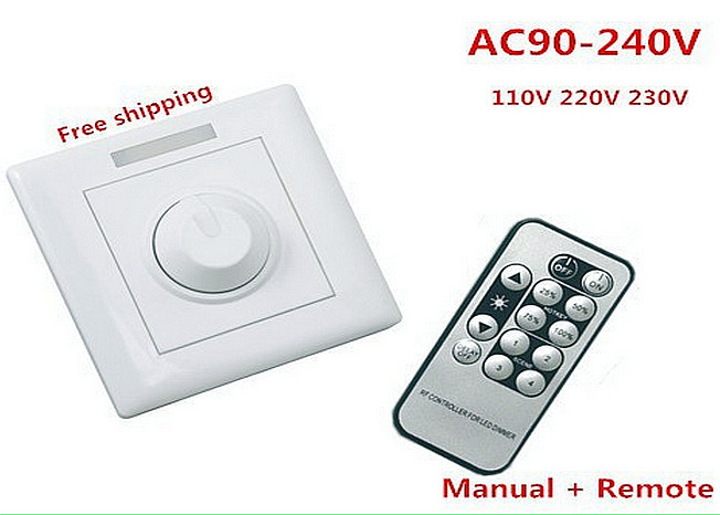 DHL 2pcs LED Dimmer switch 0-300W AC 110V 220V 230V Remote + knob dimmer switch CE ROHS UL dhl ems b anner si ls42dmg sils42dmg interlock switch ac15 230v 2 5a a1
