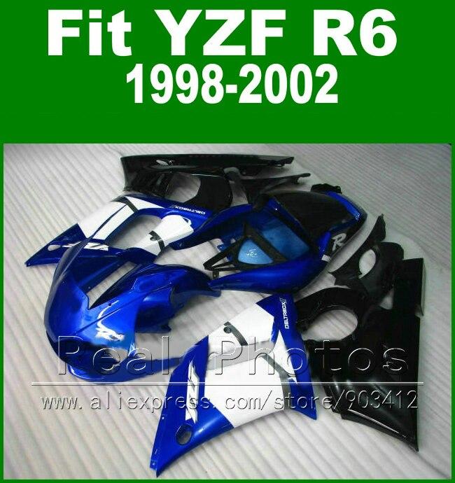 New arrival Plastic parts for YAMAHA R6 fairing kit 98-02 black royalblue  YZF R6 fairings1998 1999 2000 2001 2002 bodywork