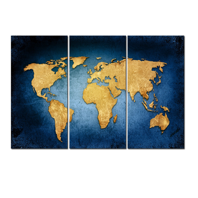 Abstract Navy Blue Gold World Map Canvas Wall Art Painting Framed 3 Pieces For Living Room