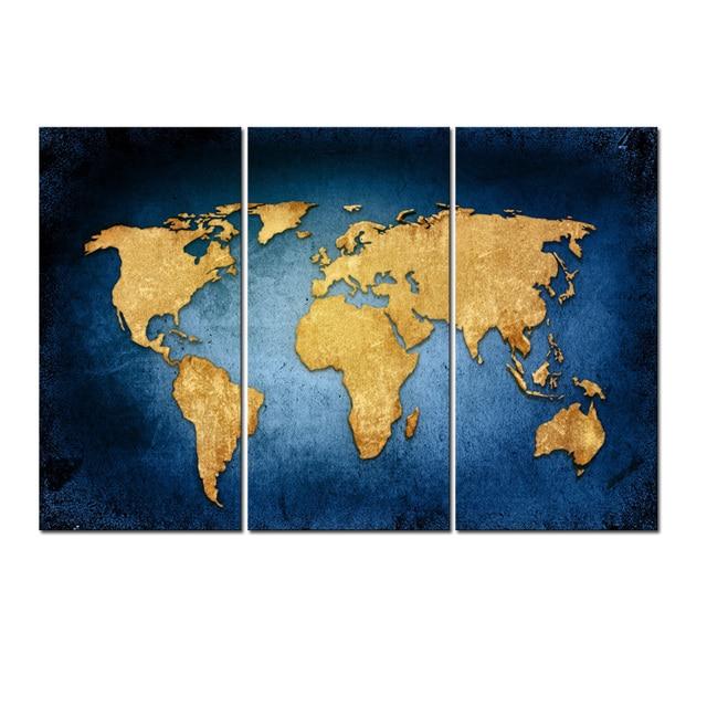 Gold World Map Wall Art.Abstract Navy Blue Gold World Map Canvas Wall Art Painting Framed 3