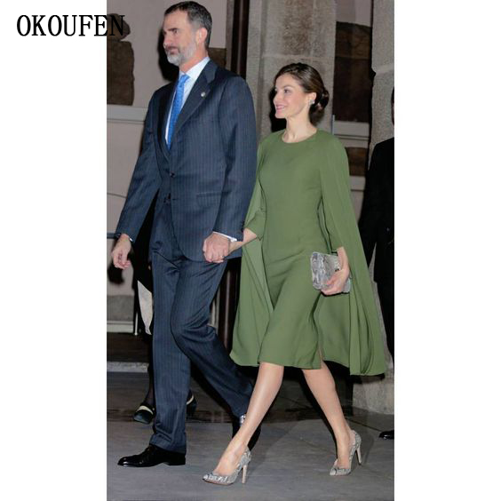 Mother Of The Bride Dresses With Cape 2019 Knee Short Olive Wedding Party Celebrity Formal Gown Vestido De Madrinha Farsali