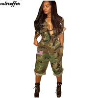 Army Green Camouflage Print Rompers Womens Jumpsuit American Flag Turn Down Collar Pockets Overalls Casual Loose Mono Mujer