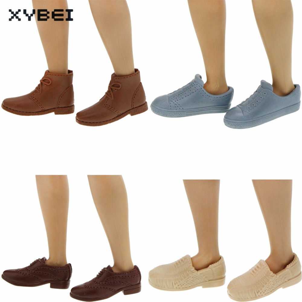 1 PCS High Quality Fashion Sneakers Casual Shoes Gray Brown Board Shoe For Barbie Doll Ken Dress Clothes Accessories Toys Gifts high quality 3 pcs mens outfits daily casual wear blouse white pants clothes for barbie doll ken prince accessories toys gifts