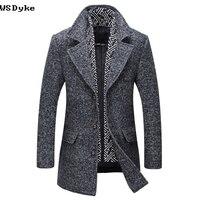 2017 Autumn Winter New Medium Long Men Wool Jacket Detachable Scarf High Quality Abrigo Casaca Hombre