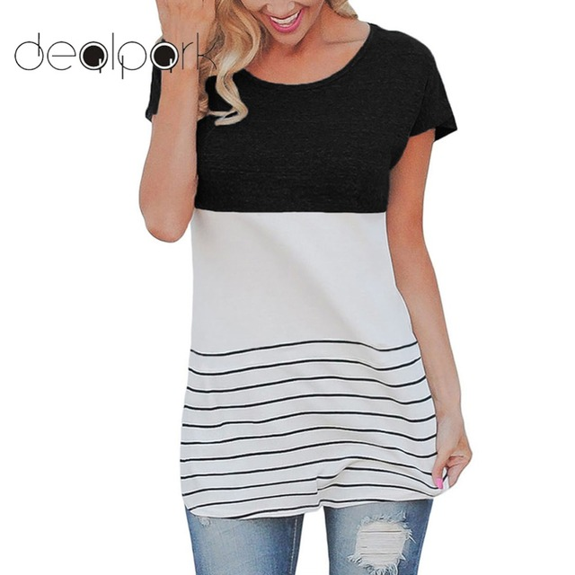 9ba23003dba 2019 Summer Plus Size 3XL 4XL 5XL Stripe T Shirt Women Color Block Top  Short Sleeve Casual Slim Knitted Tee Tunic female t-shirt