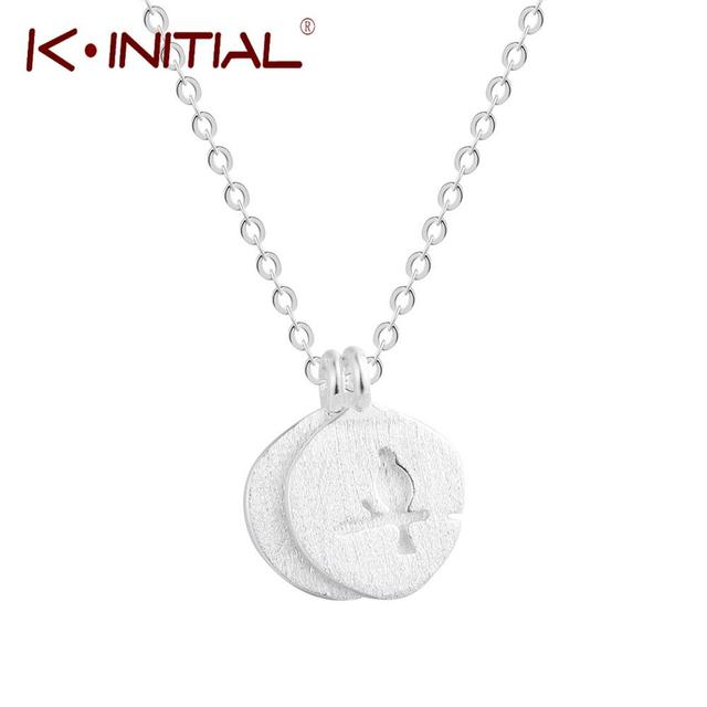 Kinitial cute branch bird pendants necklace women fashion double kinitial cute branch bird pendants necklace women fashion double round jewelry silver chain choker couple charm aloadofball Images