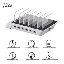 Fzoe 6 multi Порты Универсальный Съемный зарядка через USB станции Стенд Настольный держатель Зарядное устройство для смартфонов Планшеты PC ЕС, США, Великобритания Plug