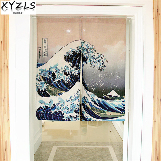 XYZLS Customized Japanese Cotton Linen Kitchen Curtain Bedroom Door Curtain Fish/Dragon Door Valance Half Curtain Door Curtains