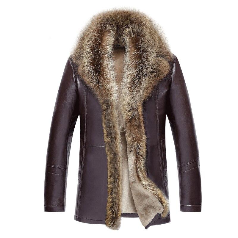 2018 Winter Fur Mens Leather Jacket Fashion Wool Genuine Leather Jacket Male Warm Overcoats Long Motorcycle Jacket 4XL 5XL 50