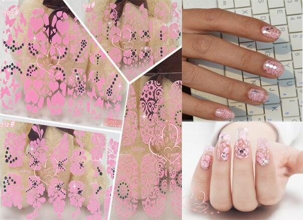 3d PinkTransparent Lace Rhinestone minx Nail Art Stickers,15Desgins ...