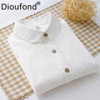 Dioufond Solid Color Cotton Women Blouses Long Sleeve Causal Blouse Shirt Simple Design Ladies Office Shirt