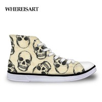 WHEREISART Men Vulcanize Shoes Cool Punk Skull Printed Shoes Men High Top Flats Classic Canvas Shoes Custom For Teenage Boys