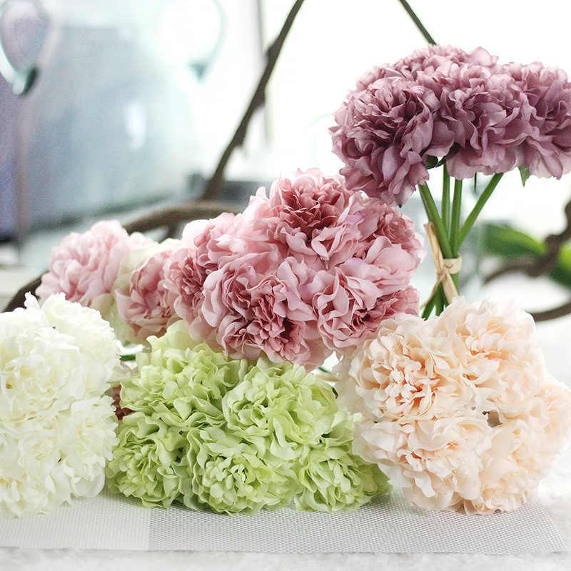 5 cabezas de flor ramo romántico Rosa alta calidad flores de seda artificiales boda fiesta Artificial peonía Hortensia flor hogar decoraciones