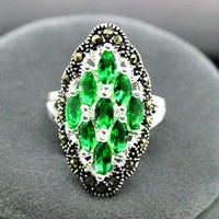 good Bridal Wedding Art 925 Sterling Silver Green Emeralds Gems Marcasite Ring Size 7/8/9/10