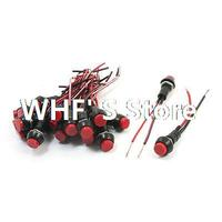 20PCS 12V Momentary Red Round Boat Rocker Switch W Wires SPST
