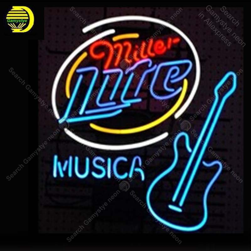 Neon Signs Miller Lite Musica Hom room Wall Advertising Sign Neon Bar Sign Neon lamps Personalized Art lamps neon bar lights
