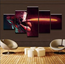 цена на Framework 5 Panels DOTA 2 Juggernaut Modern Home Decorative Canvas Printed Painting Wall Art For Living Room Modular Pictures