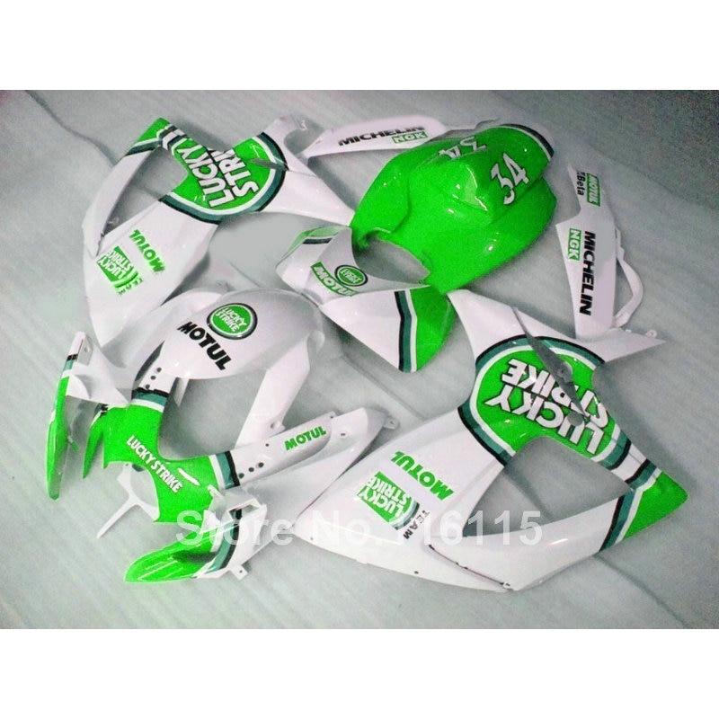 Injection mold  fairing kit for SUZUKI GSXR 600/750 K6 K7 2006 2007 green LUCKY STRIKE GSXR600 GSXR750 06 07 fairings RP14 new hot moto parts fairing kit for honda cbr1000rr 06 07 green injection mold fairings set cbr1000rr 2006 2007 ra17