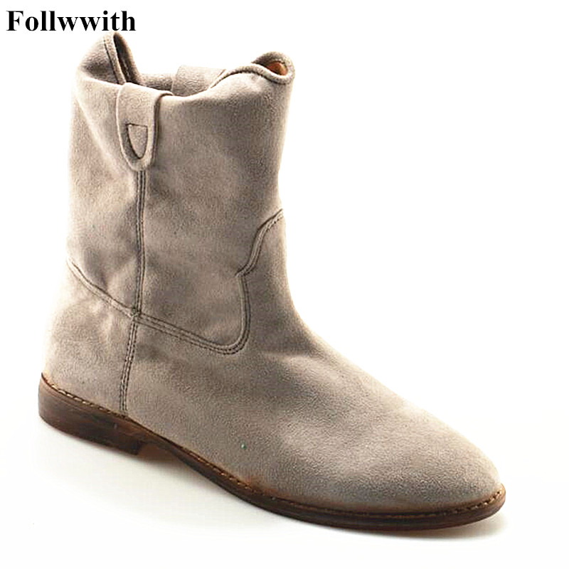 Women Fashion Ankle Boots Top Quality Suede Autumn Slip-On Pointed Toe Flats Punk Suede Biker Boots Ladies Shoes Wholesales new 2017 spring summer women shoes pointed toe high quality brand fashion womens flats ladies plus size 41 sweet flock t179
